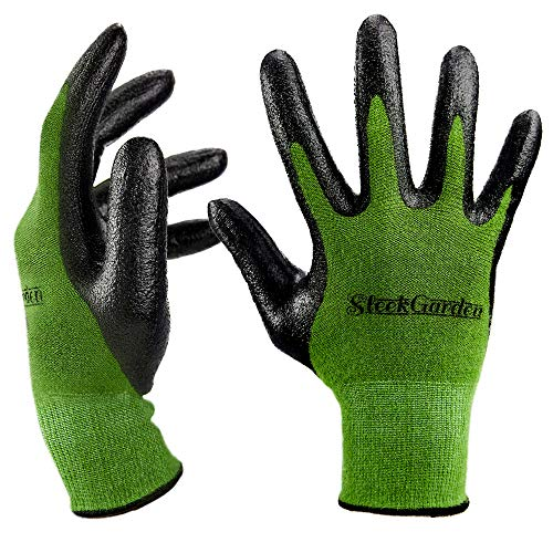 Bamboo Garden Gloves for Women and Men.Ultra Grip, Nitrile Protective Coating Against Cuts Barehand Sensitivity Work Glove for Gardening, Fishing, Clamming, Mechanic, Restoration Thin Safety(Large)