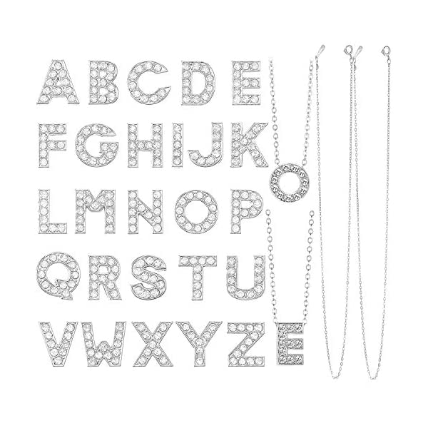 78 Pieces Bling Crystal Rhinestone Alphabet Letters Slide Charms Alloy Alphabet A-Z...