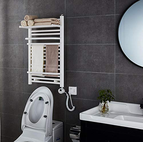 Nuokix Montado en la pared eléctrico Calentador de toallas, con una función de termostato y Cableados spray inoxidable 304 y acero-Negro blanco dos colores 19.68 * 31.49 pulgadas, blanca Secado Rápido