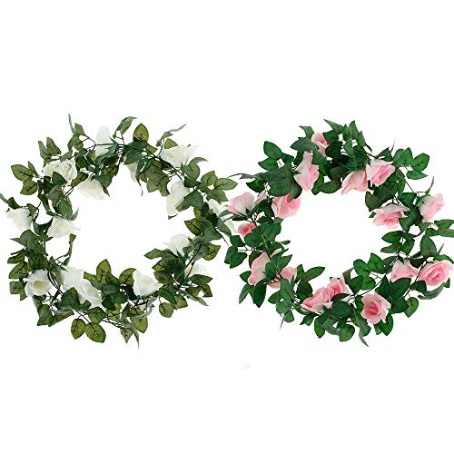 4Pcs Artificial Rose Vine Flowers 7.5 ft/2.3M Hanging Rose Garlands Lifelike Artificial Hanging Rose Ivy Perfect for Home Garden Office Hotel Party Decor (pink+white)