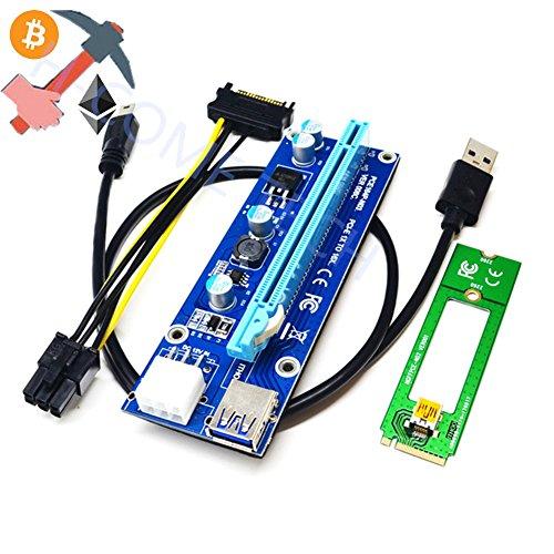 PCI-E Riser-Adapter, GoldenBridge M2 NGFF auf 16X PCI-Express 6Pin-Riser-Adapterkarte W/60CM USB 3.0-Kabel & 6-Pin auf SATA-Stromkabel-GPU-Riser-Adapter-Ethereum Mining ETH (1-Packung, Blau)