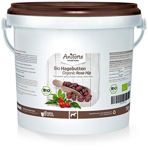 AniForte Bio Hagebutten für Pferde 1kg - Hagebutten getrocknet ganze Früchte, Vitamin C & Gelenk Unterstützung, ökologischer Anbau, Naturrein in Premium Rohkost Qualität