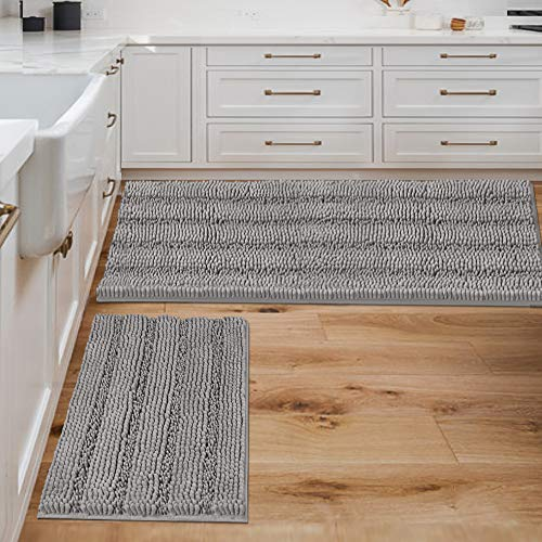 Bathroom Rugs Bath Mats Sets Super Absorbent Chenille Striped Bath Mats Non Skid Machine Wash Dry Rugs for Bathroom Floor Set of 2(Dove, 47 x 17 Plus 17 x 24 - Inches)