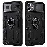 NILLKIN Funda iPhone 11, Funda con Tapa deslizable para cámara, PC y TPU Funda Protectora Parachoques Resistente a Impactos con Soporte de Anillo para iPhone 11 6.1 Pulgadas 2019-Negro