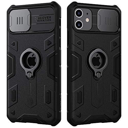 Nillkin - Carcasa para iPhone 11, CamShield Armor con tapa para cámara corrediza, resistente a los golpes, con soporte de anillo para iPhone 11 de 6.1 pulgadas (2019)