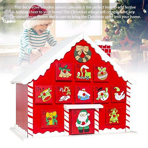 BRANDNEWS Navidad Escena De Pueblo De Madera Calendario De Adviento Decoración De Madera Reutilizable Regalo De Cuenta Regresiva De Navidad Sorpresa Decoración De Navidad Present Reasonable