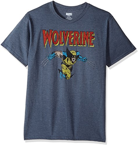 Marvel Men's Wolverine Classic Character Logo T-Shirt, Navy Heather, X-Large
