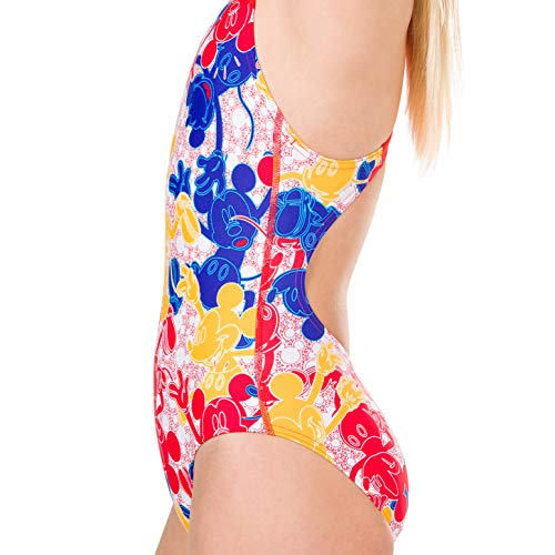 Speedo Girls' Disney Mickey Mouse Allover Swimsuit, Mickeycamo Blue/Red/Yellow, Size 28