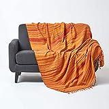 Homescapes Chenille-Tagesdecke, orange, Wohndecke 220 x 240 cm, Sofaüberwurf/Plaid aus 100prozent Baumwolle mit Fransen, orange gestreift