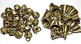 AzKrafts Pack of 40 Brass Bells, 20 Sleigh Bells + 20 Regular Bells, Unique Combo - Small Indian Brass Bells & Jingle Bells for Home Door Decor, Crafts, Chimes, Christmas Decor, Pet Bells