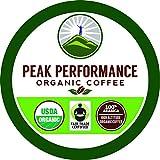 Organic K Cups - Peak Performance High Altitude Organic Coffee Pods. High Performance K Cup Coffee for High Performance Individuals. Fair Trade Organic Beans Medium Roast Single Serve Keurig 24 KCups