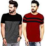 Leotude Men's Regular Fit Multi Color T Shirts (Pack of 2)