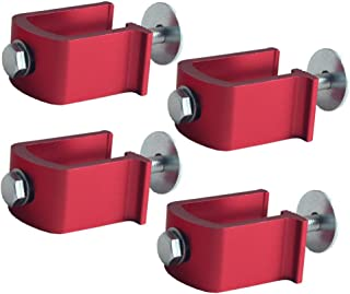 JGR Easy Mount Truck Tool Box U Clamps Aluminum Tie Downs (Red-4 Pack)