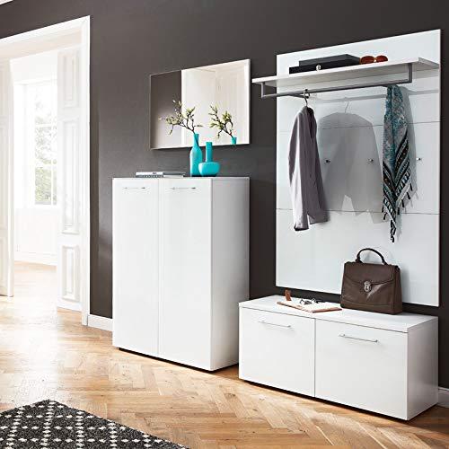 Lomadox Garderoben-Komplett-Set - 4-teilig - Glasfront weiß - inkl. Schuhschrank für 20 Paar Schuhe
