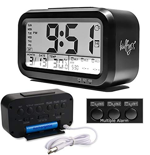 Bulfyss USB Rechargeable Digital Alarm Clock, Date, Temperature, Backlight LCD Display Smart Clock with 3 Alarms for Girls Kids Bedroom Table Desk (Black)