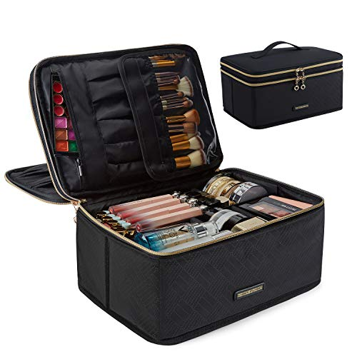 Large Makeup Case, LIGHT FLIGHT Travel Makeup Bag Cosmetic Case Organizer Portable Storage Bag with Adjustable Dividers for Cosmetics Makeup Brushes Toiletry Digital Accessories