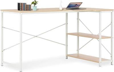 Zerone Bureau d'angle style nordique pour bureau, chambre à coucher, blanc et chêne 120 x 72 x 70 cm