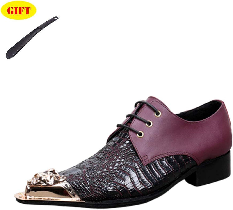 BJHH Herrenschuhe Retro Lederschuhe Pointed Pointed Tide Schuhe Leder Pointed Low Schuhe Rot,lila,EU42 UK7.5  großer Rabatt