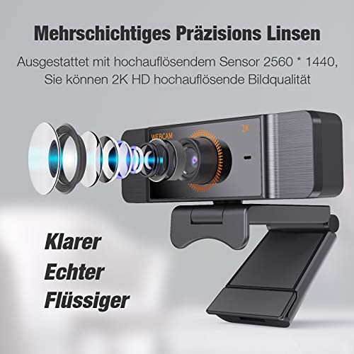 Webcam Lefun,Webcam mit Mikrofon Für PC,USB Kamera Für PC Für Skype/Zoom Video/LaptopVideo-Streaming/Konferenz Ist Kompatibel mit Windows/Linux/Android