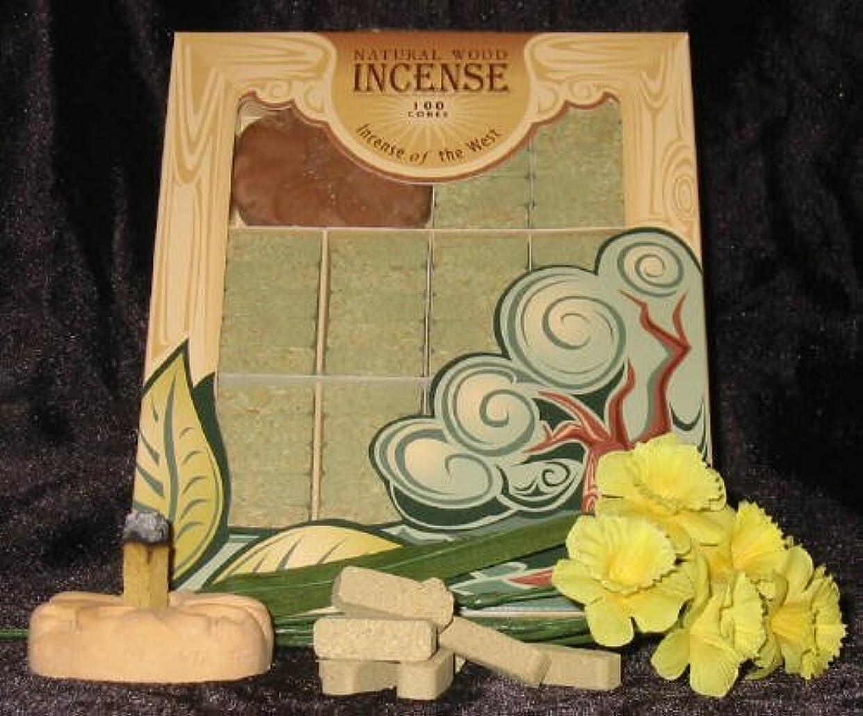からに変化するベール指令Fir Balsam Wood Incense - 100 Bricks Plus Burner - Incienso De Santa Fe, New, Fr