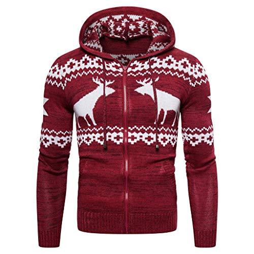 RANTA Herren Weihnachten Printed Kapuzenjacke Outdoor Slim Fit Winter Xmas Elch Schneeflocke-Muster Sweatjacke Langarmhemd Shirt, Langarm, reguläre Schmale Passform