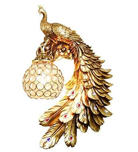 Lampada da parete in cristallo di lusso nordico Bohemia Peacock Applique da parete retrò Lampada da comodino Bar Decorazione Dare LED Blubs Luce dello specchio @ Destro (dorato) _Warm White (2700-3500