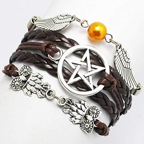 Pulsera remota Alas de ángel ala búhos Pagan y Wiccan Supernatural Estrella Pulsera Amistad Regalo de Dama de Honor (marrón)