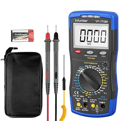 Digital Multimeter INFURIDER YF-770M TRMS 6000 Counts Spannungsprüfer für Messen Spannung/Strom/Widerstand/Kontinuität/Kapazitanz/Dioden/Temperatur mit Mechanischem Schutz
