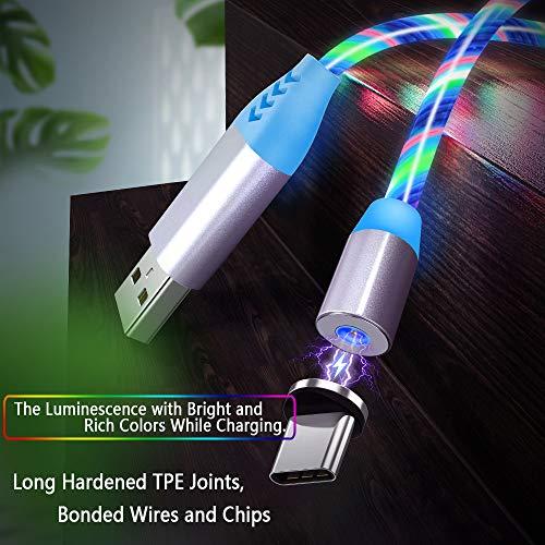 Magnetisches USB Ladekabel mit Sichtbarem Fließendem LED Mehrfarbenlicht, Micro USB Typ C Kabel Light Up Ladekabel 3 in 1 Anschlüsse(Keine Datenübertragung)