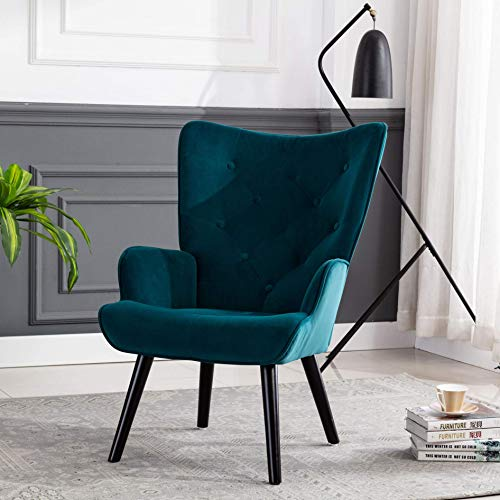 Modern Armchair, Wingback Accent Chairs, Velvet Leisure Chair with ButtonTufted for Bedroom Living Room, Teal