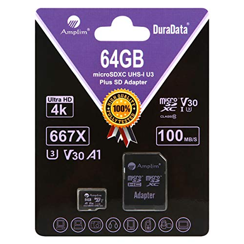 Amplim 64GB Micro SD Card Plus Adapter Pack, 64 GB MicroSD SDXC Class 10 Pro U3 A1 V30 Extreme Speed 100MB/s UHS-I UHS-1 TF XC MicroSDXC Memory Card for Cell Phone, Nintendo, Galaxy, Fire, Gopro