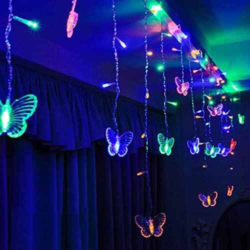 JWINDERU Luz De Red LED, Lámpara De Hadas De Red, Cortina, Luces De Mariposa, 5m 216 Cuentas De Lámpara LED, 8 Patrones Intermitentes, Fiesta, Boda, Hogar, Jardín, Decoración, Colorido Color