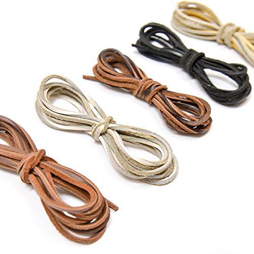 TOMYEER 2Mm X 2M Cordón de Cuero Cordón de Ante para Collar, 5 Piezas,Couleur aléatoire