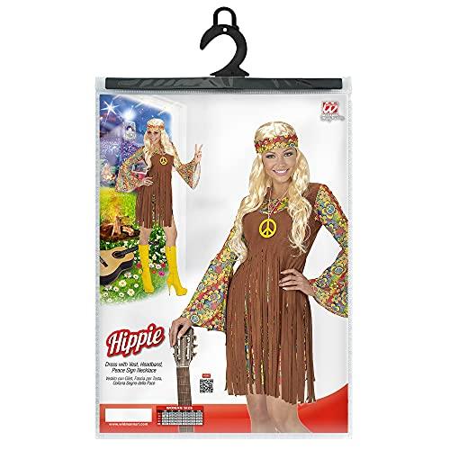 WIDMANN- Disfraz de Hippie para Adultos, Vestido con Chaleco, Cinta para la Frente, Cadena con símbolo de la Paz, Talla M, Multicolor, Medium (06522)