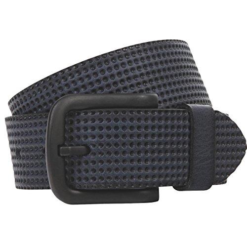 Lindenmann Mens leather belt/Mens belt, full grain leather belt with embossing, navy, Größe/Size:100, Farbe/Color:bleu