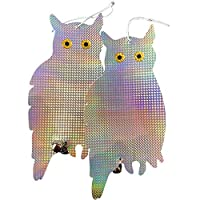 Ugold鳥よけ、フクロウ、ピカピカ、風鈴、ホログラフィック、飾り、カラスよけ (横顔)