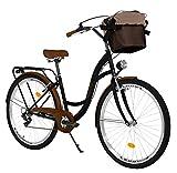 Milord Bikes Bicicleta de Confort, Negro-marrón, de 7 Velocidad y 28 Pulgadas con Cesta y Soporte...