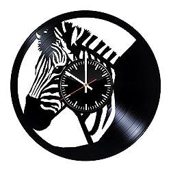 Zebra Vinyl Record Clock Zebra Wall Art Handmade Clock Zebra Vintage Clock Zebra Wall Accessories Zebra Gift