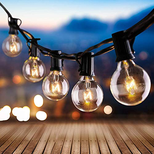Garden Lights Outdoor, Mains Powered 9.7M String Lights with 30 Globe Bulbs(+3 Spare), Warm White Festoon Lighting for Indoor Party Gazebo Patio Fence Christmas Decorations, 3M Extension Included