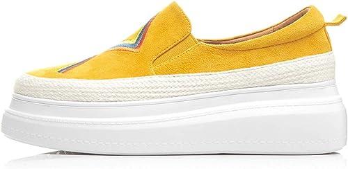 YAN zapatos de plataforma de Las mujeres 2019 Nuevo bajo-Top Casual zapatos de Cuero zapatos Bordados al Aire Libre Caminar zapatos amarillo,amarillo,40