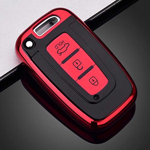 Funda de TPU Suave para Llave de Coche, para Hyundai Solaris HB20 Veloster SR IX35 Accent Elantra i30 para KIA Rio K2 K3 Sportage Accesorios, F, Rojo