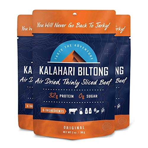 Biltong -- Zero Sugar, Air Dried Beef - Non-GMO - 2 oz - 3 Pack (Original)