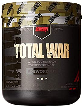 Redcon1 Total War - Pre Workout 30 Servings Boost Energy Increase Endurance and Focus Beta-Alanine 350mg Caffeine Citrulline Malate Nitric Oxide Booster - Keto Friendly  Strawberry Mango