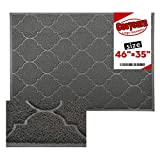 Large Door Mats,46x35 Inches XL Jumbo Size Outdoor Indoor Entrance Doormat, Waterproof, Easy Clean, Entryway Rug,Front Doormat Inside Outside Non Slip (Grey)