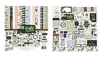 Echo Park Paper Collection Bundle  Coffee & Friends 12 x 12 Collection Kit + Coffee & Friends 12 x 12 Cardstock Elements Sticker Sheet