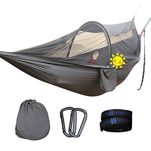 TYJKL Hamaca portátil de Camping Fácil de Montar portátil colgado Hoja de Nylon Hombre o Doble Que acampa Hamaca