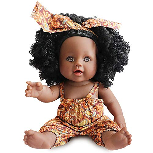 Nice2You Black Dolls 12in American African Girl Baby Doll for Kids Aged 2 3 4 5 6 7 Years Fashion Play Doll Reborn Baby Toy Doll - Life Size Soft Adjustable Perfect for Birthday