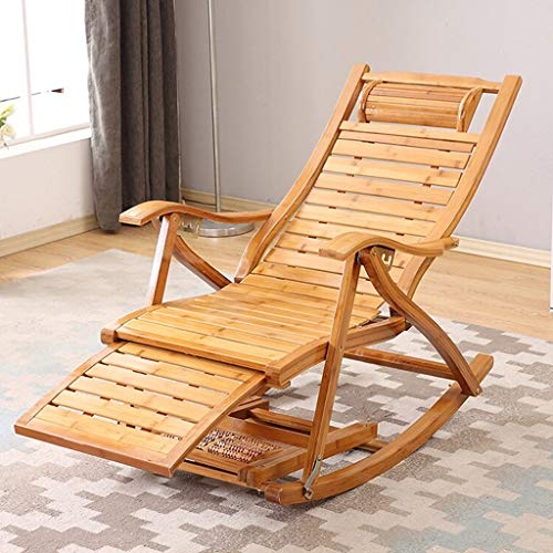 Urbancart ® Relax Bamboo Wooden Rocking Chair for Home Living Room and Outdoor Lounge, Brown (Design-1)