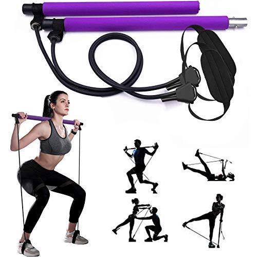 CnFPX Juego de barra de pilates, con banda de resistencia, barra de yoga portátil, con correa para el pie, expansor de pecho y extractor de brazos, entrenamiento, máquina de ejercicios