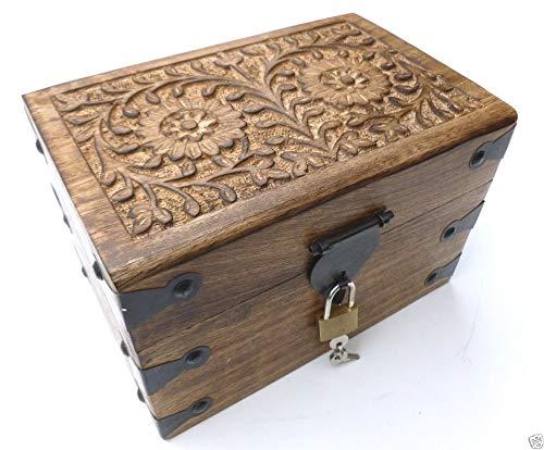 Holzspielzeug-Tom 30MS Truhe mit Schloß Holztruhe Schatzkiste mit Schloss Schatztruhe Geschenk Geschenkbox Geburtstagsgeschenk verschließbar abschließbar mit Deckel